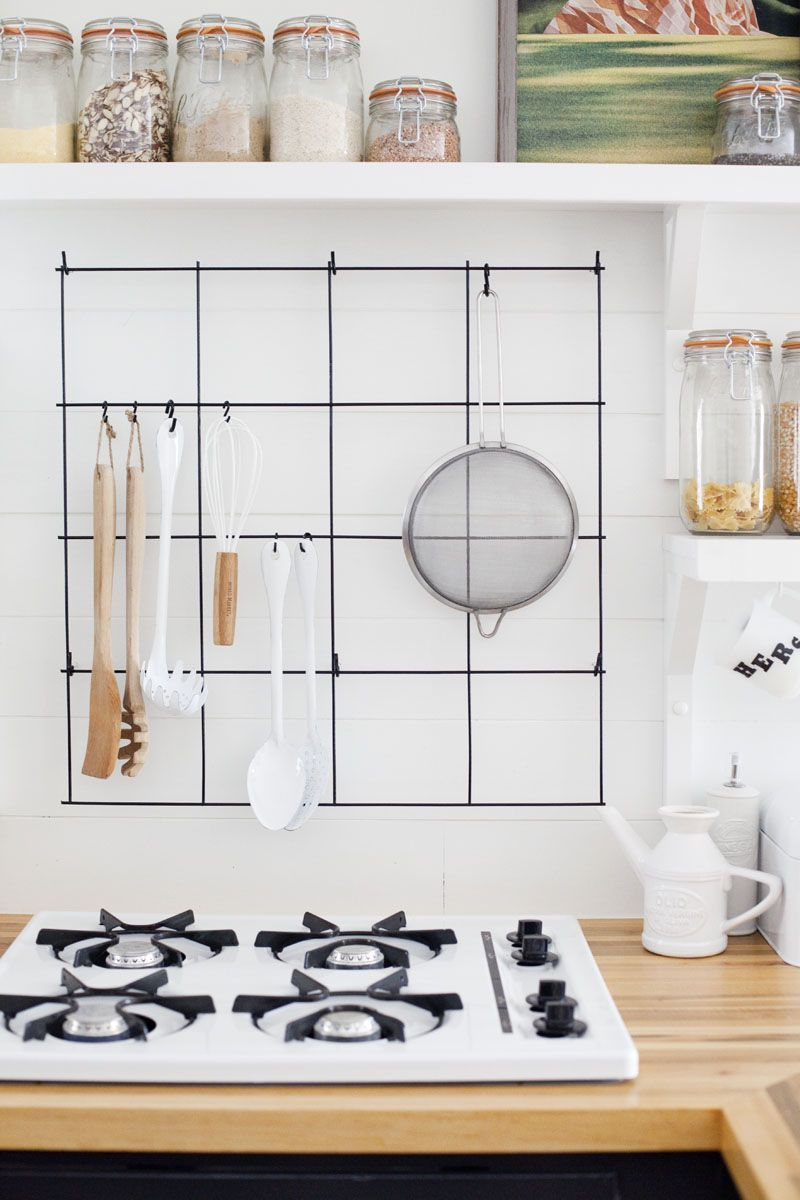 make a wire utensil rack with items found at the hardware store