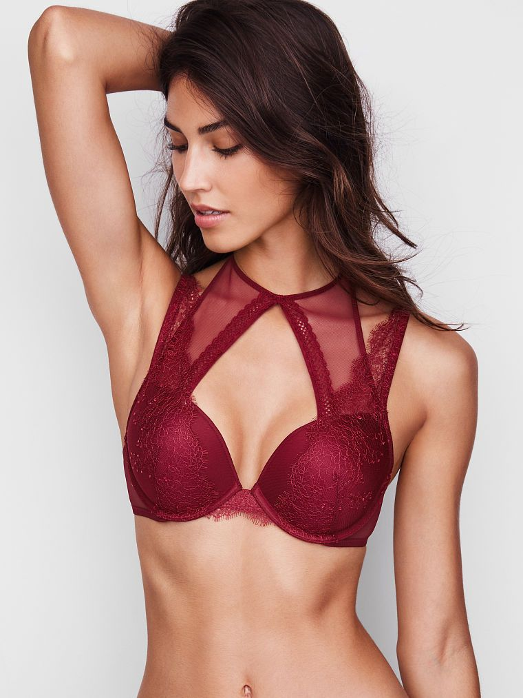 17f1f8960eea0 Chantilly Lace High-neck Push-Up Bra - Very Sexy - Victoria s Secret ...