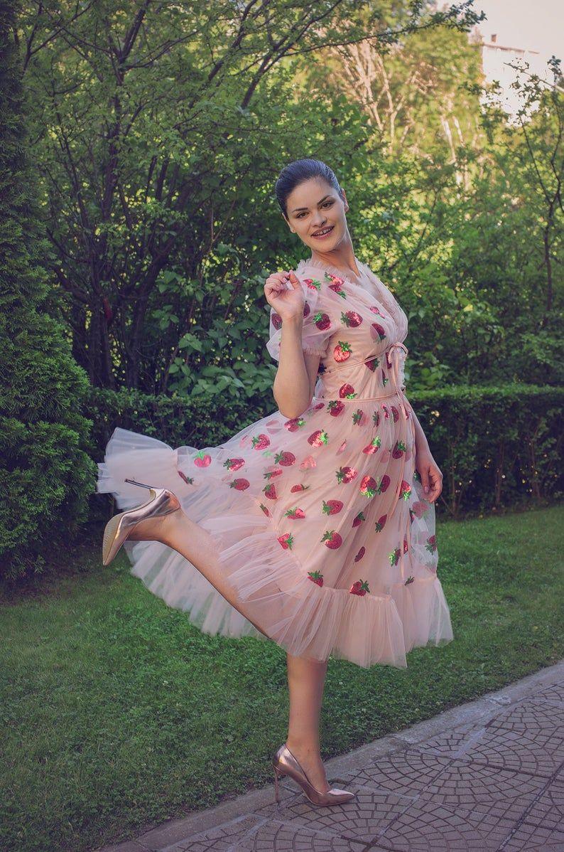 Strawberry Tulle Dress Amazing Dress Summer Tulle Dress Etsy Pink Tulle Dress Strawberry Dress Nice Dresses [ 1198 x 794 Pixel ]