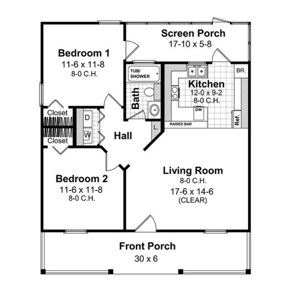 Cottage Style House Plan 2 Beds 1 Baths 800 Sq Ft Plan 21 211 Building A Small House House Floor Plans Small House Plans