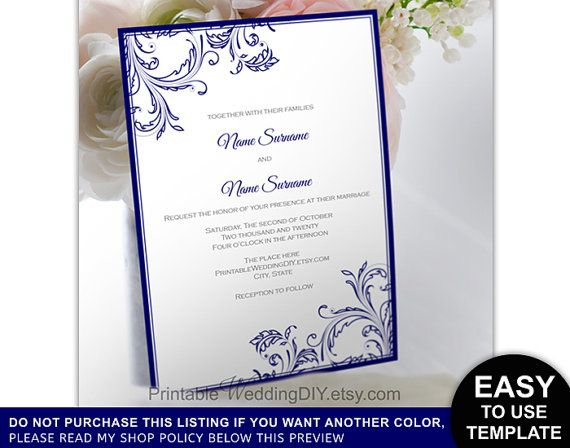 Navy blue filigree Printable Invitation Template Instant download - invitation word template