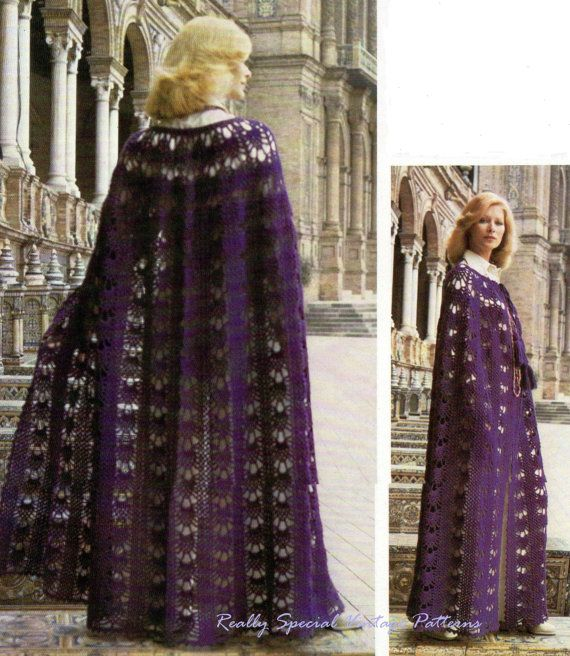 Ladies Crochet Cape Cloak Vintage Pattern PDF Instant ...