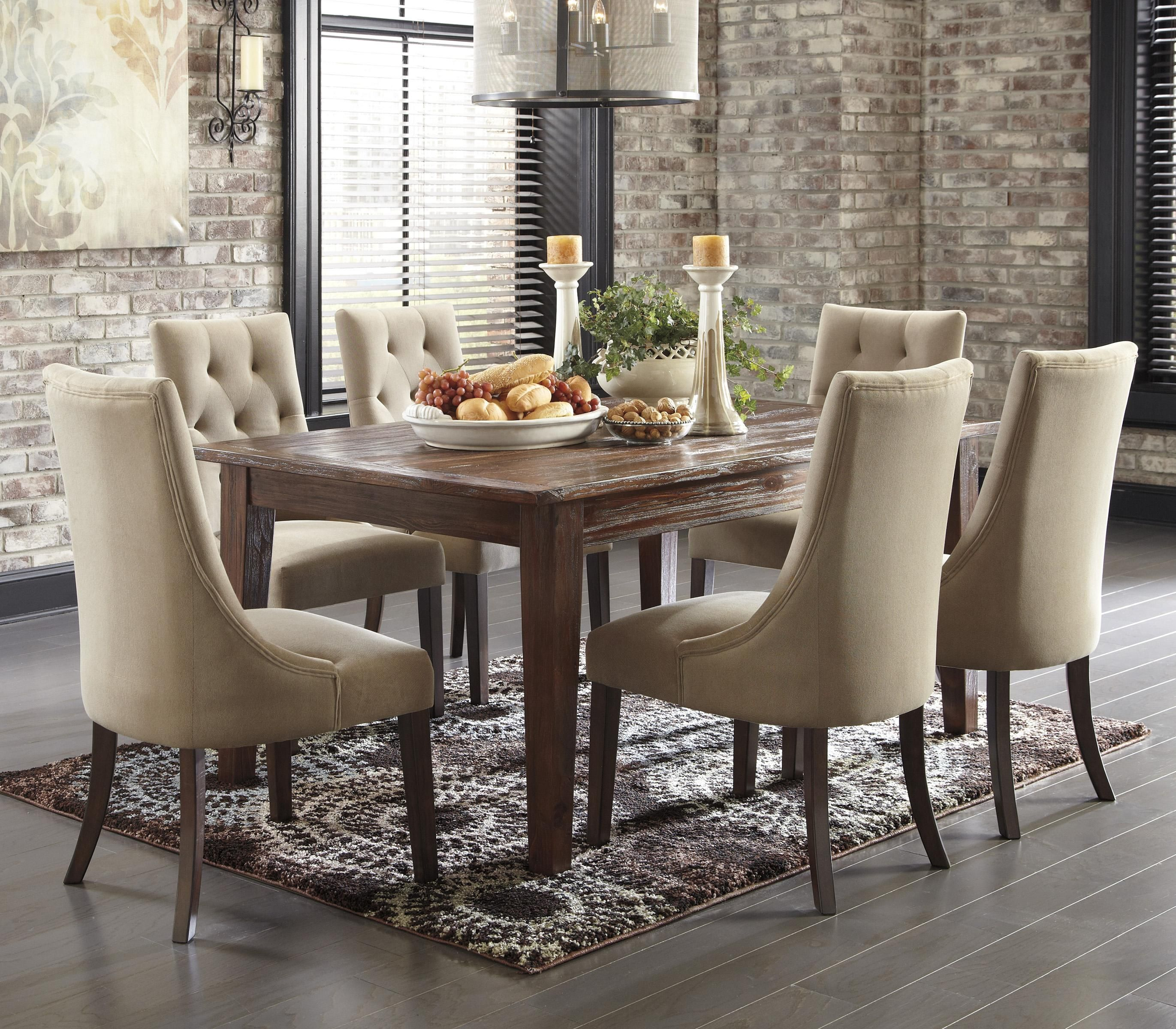 Mestler 7 Piece Dining Set With Upholstered Chairs By Signature