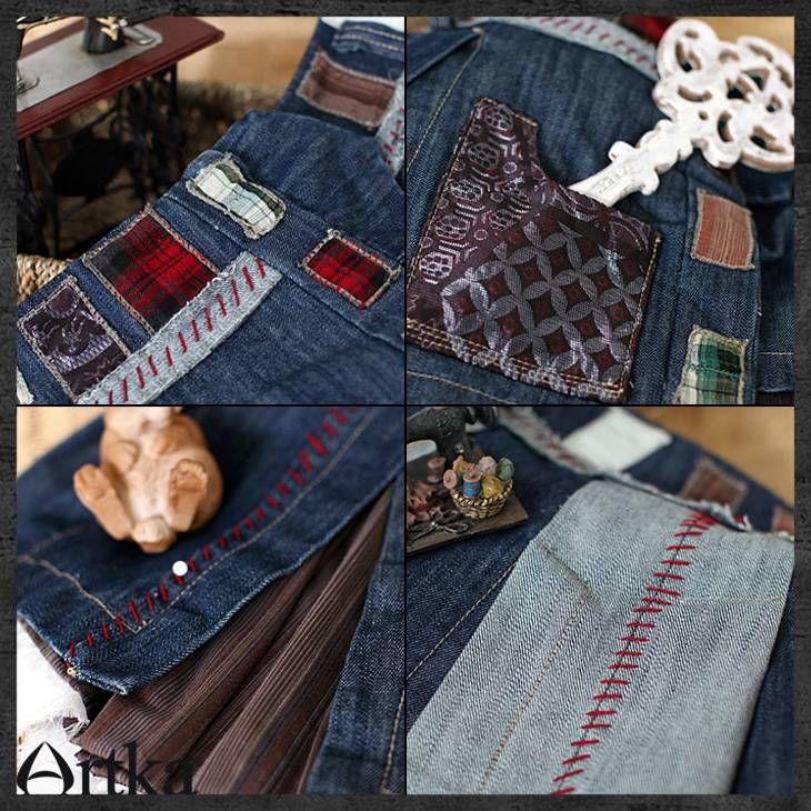 【楽天市場】【オリジナルデザイン】個性的リメイク風デニムミニ丈スカート:elaine fashion