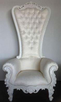 Garden Furniture King white alice in wonderland king chair high back gothic queen diva