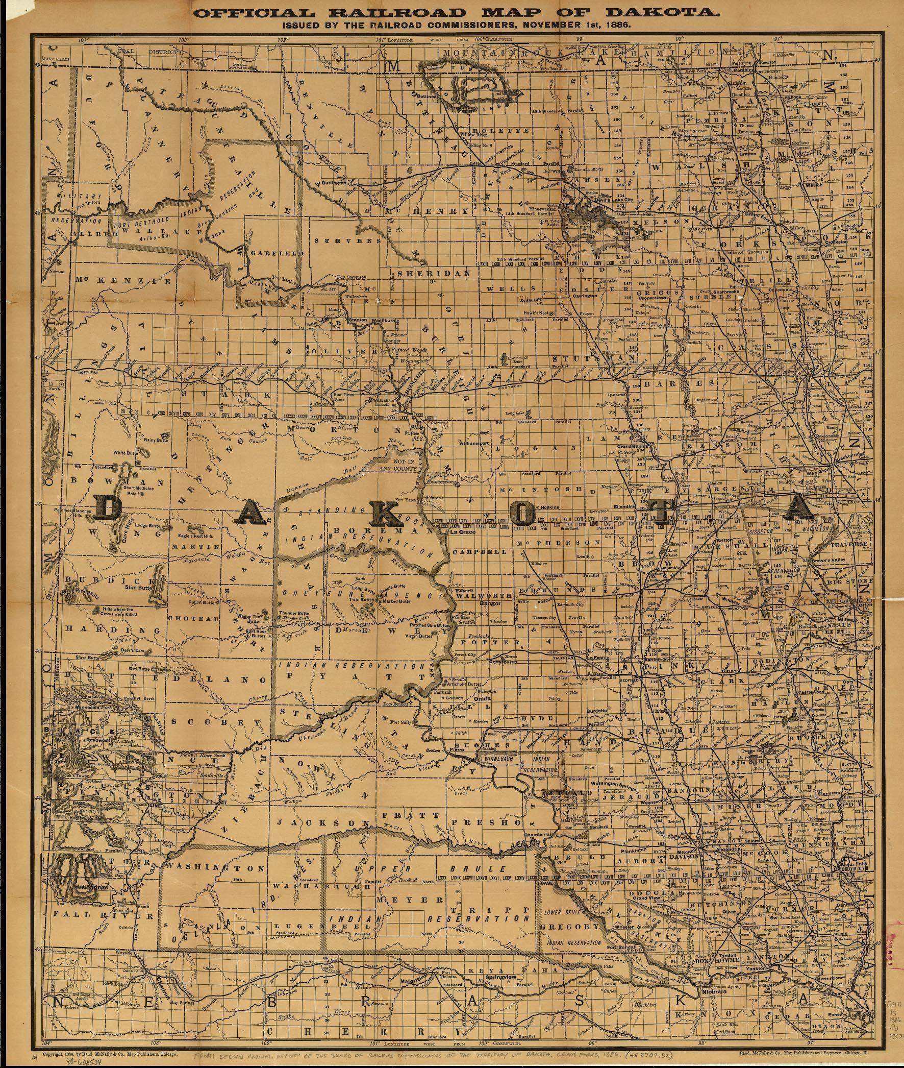 Railroad Map of Dakota Territory 1886 | Maps | North Dakota, South ...