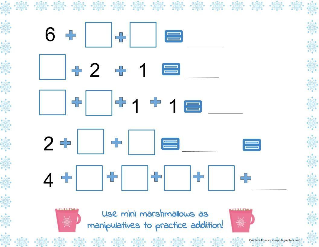 Addition Math Mat With Marshmallows Math Mats Winter Math Kindergarten Addition Math Centers [ 816 x 1056 Pixel ]