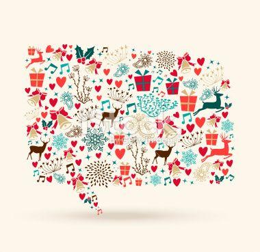 Christmas colors icons social media bubble shape Royalty Free Stock Vector Art Illustration