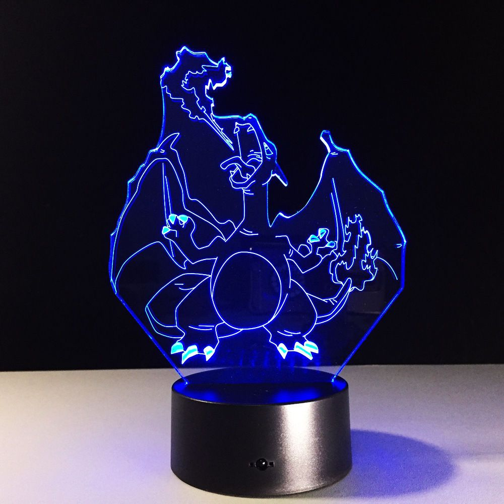 Anime Pokemon Charizard Dinosaur Desk Light Decorative 3d Acrylic Led Table Lamp 3d Led Lamp Led Lamp Diy Led Light Design