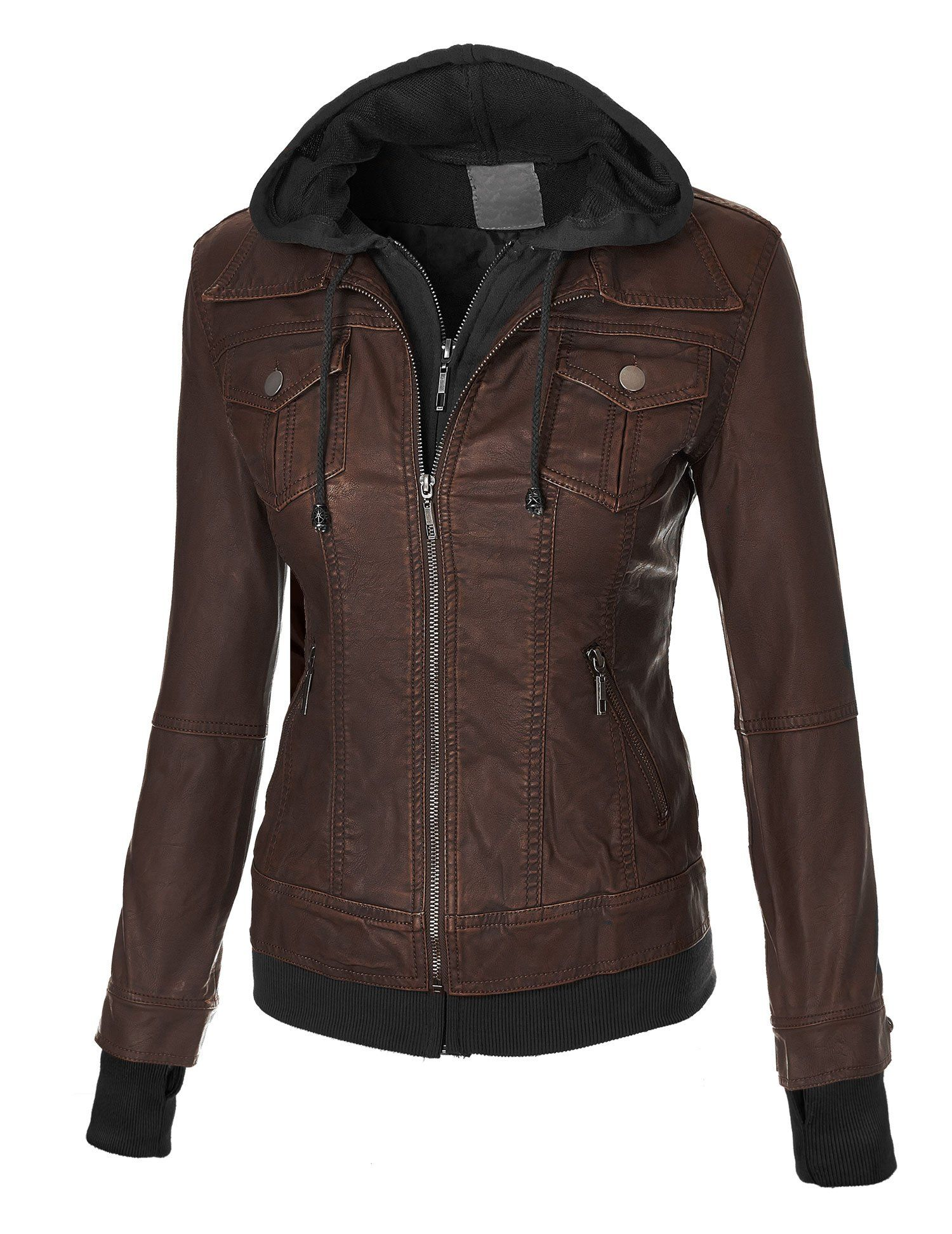 3117446d6 Lock and Love Women's 2-For-One Hooded Faux leather Jacket L COFFEE ...