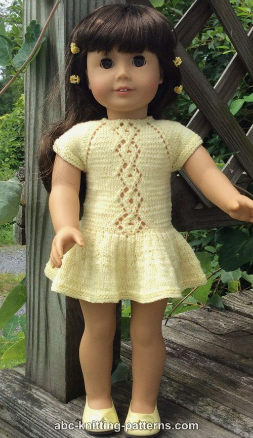 ABC Knitting Patterns - American Girl Doll Lace Cable Summer Dress ...