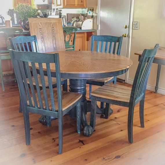 Farmhouse Kitchen Table and Chairs w/ leaf, dining room ...