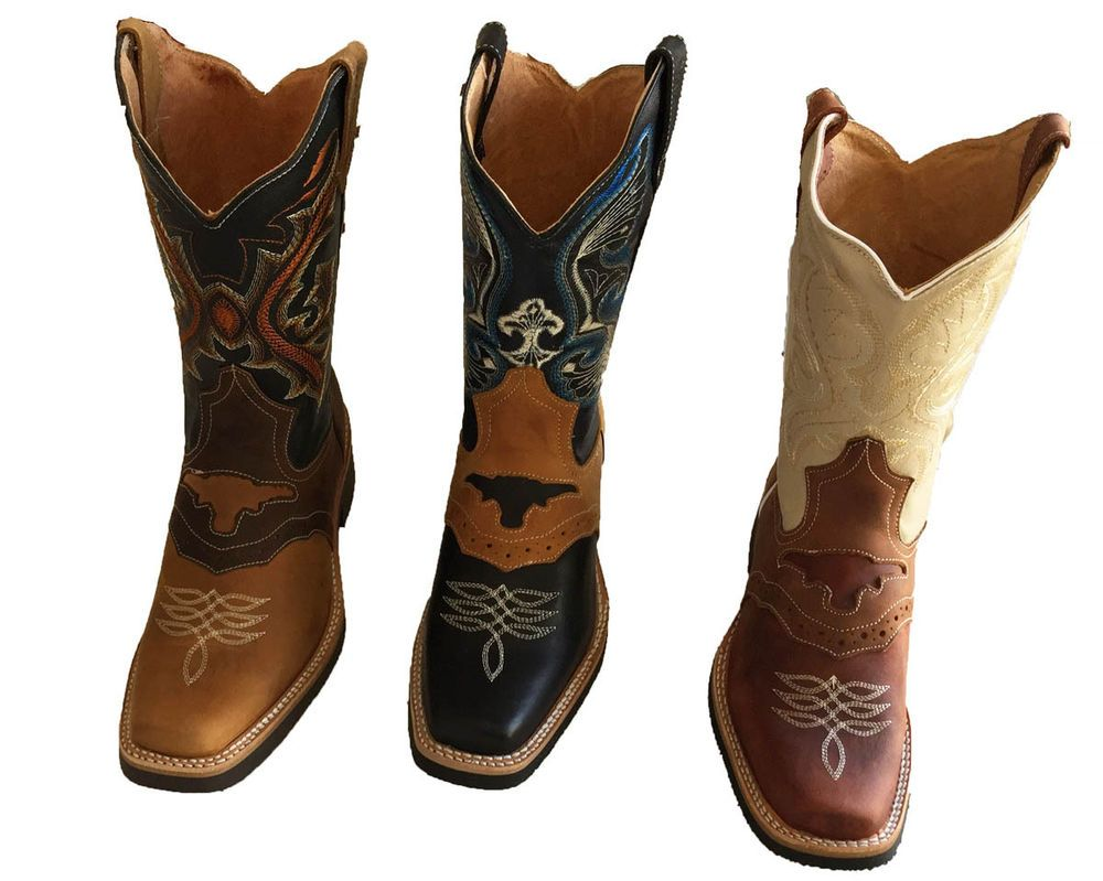 Men cowboy boots Genuine Cowhide Leather square toe rodeo western BOOTS  $59.99