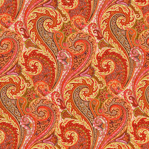 Orange Linen Paisley Upholstery Fabric by the Yard Pink Orange