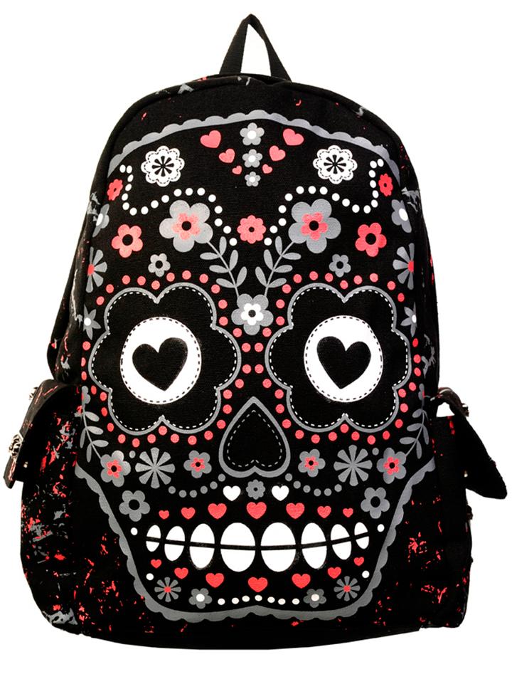 Women's \'Sugar Skull\' Backpack (Black)