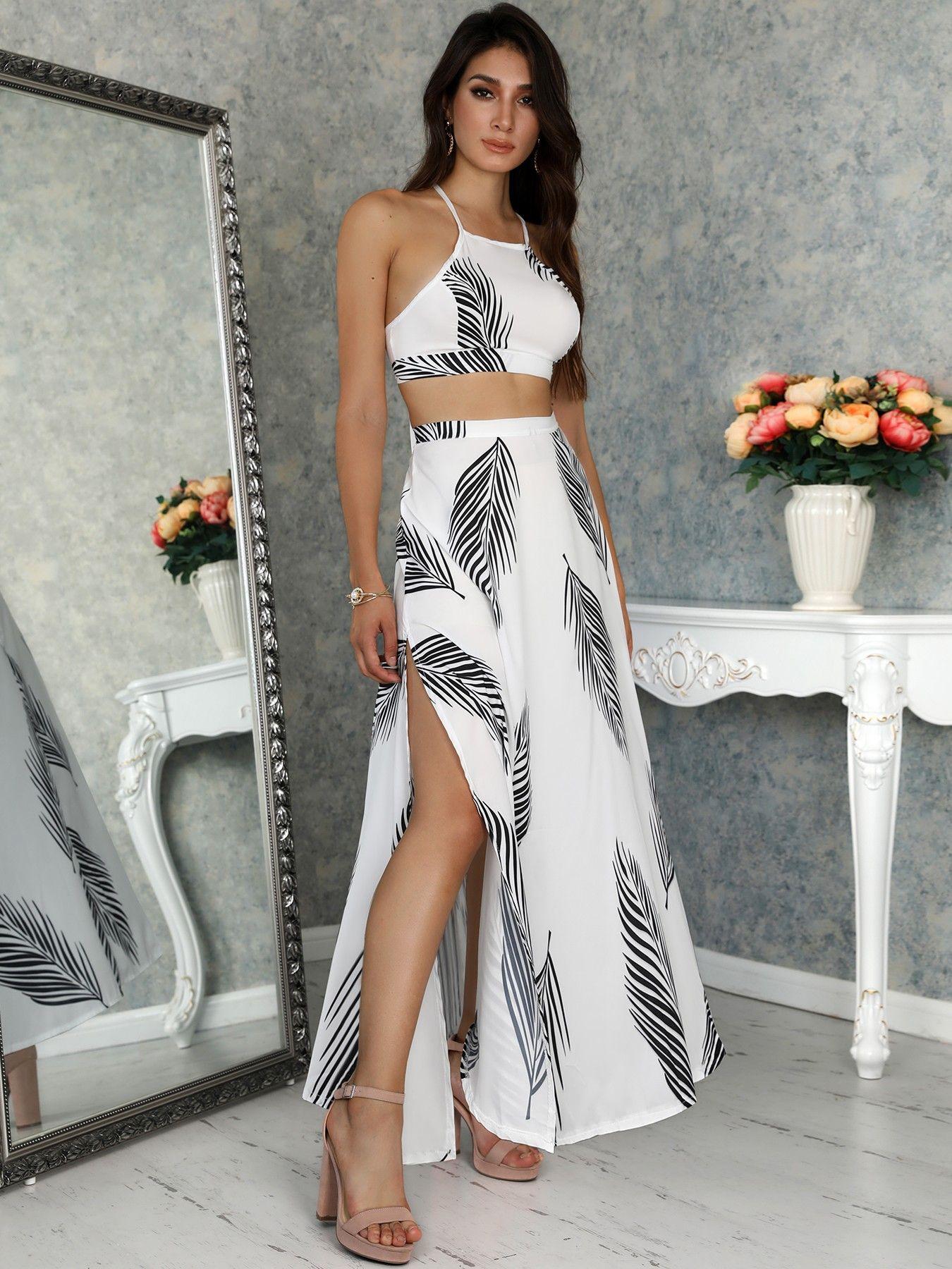 df6480c81f5 Leaf Print Backless Cami Top & Split Maxi Skirt Set   Dresses and ...