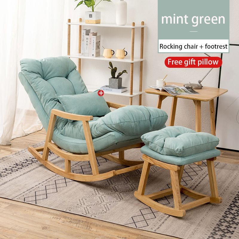 Nordic Solid Wood Balcony Living Room Backrest Lounge Chair In 2020 Green Rocking Chair Chair Home