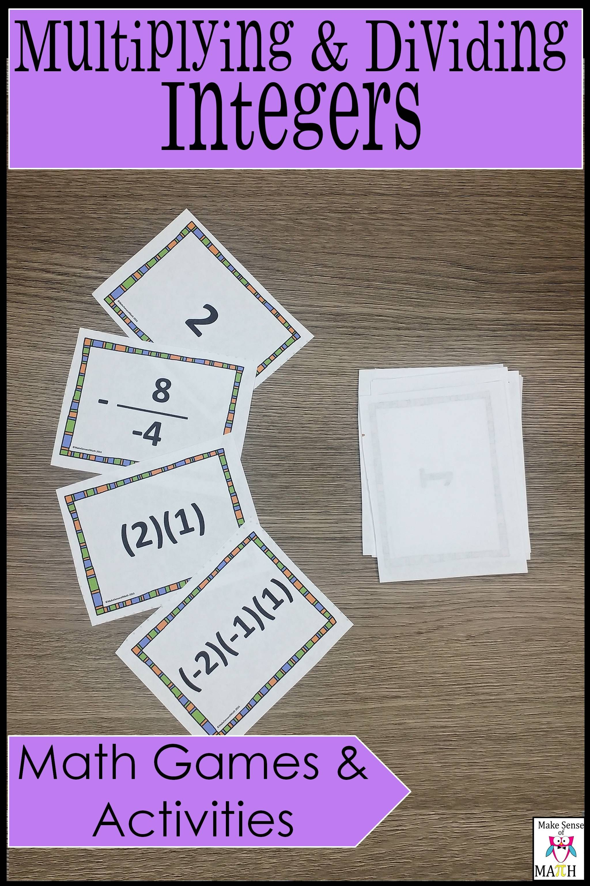 Multiplying And Dividing Integers Math Games And