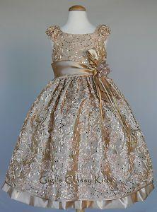 new girls gold champagne dress size 6 christmas wedding flower holiday fancy ebay