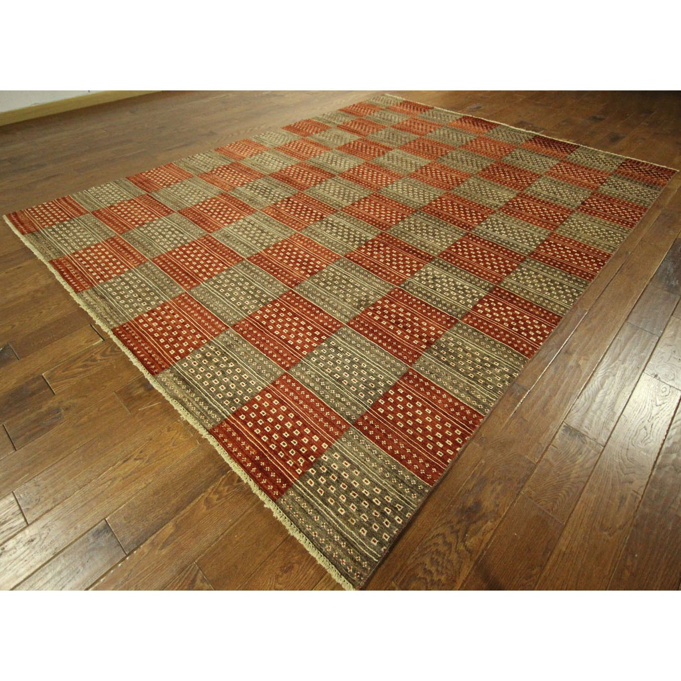 For Multi Colored Checked Double Knotted Gabbeh Hand Wool Area Rug X Get Free Shipping At Your Online Home Decor Outlet
