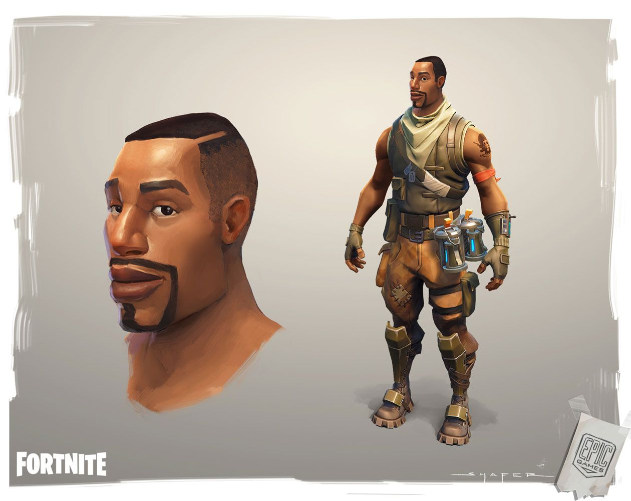 Black Soldier from Fortnite Character art, Concept art