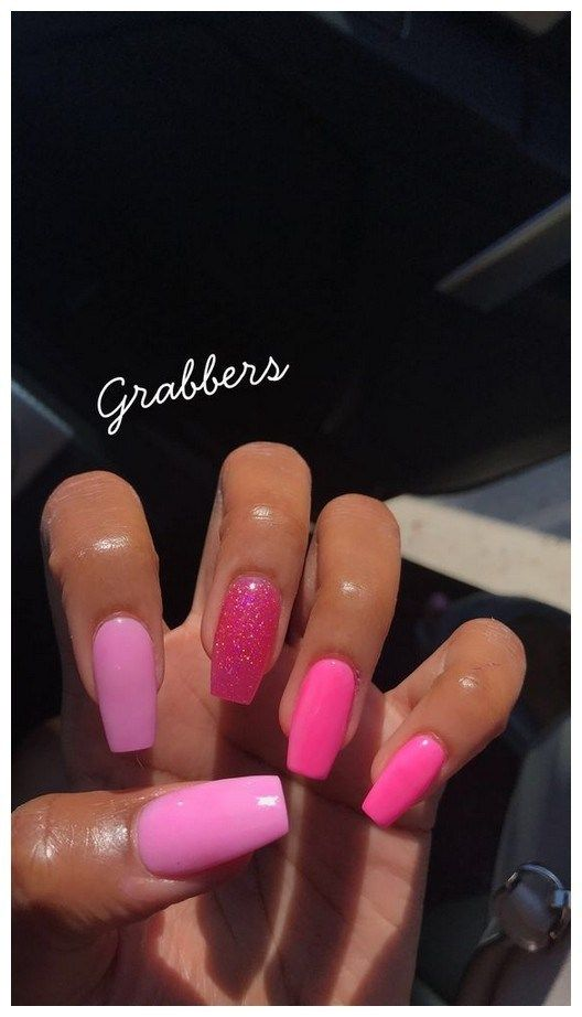 27 Most Eye Catching Different Color Coffin Nails For Prom And Wedding 00033 With Images Pink Acrylic Nails Cute Acrylic Nails Pink Nails