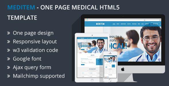 Meditem - One Page Health & Medical HTML Template | Medical ...