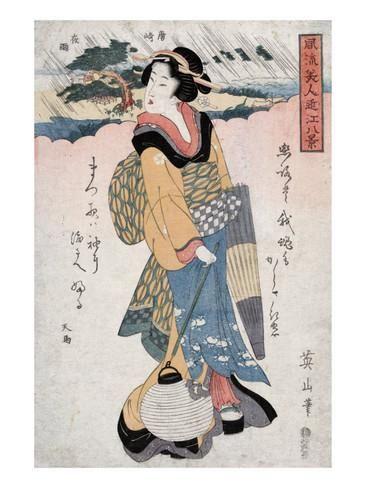 Evening Rain at Karasaki, no.2, Japanese Wood-Cut Print Poster tekijänä Lantern Press AllPosters.fi-sivustossa
