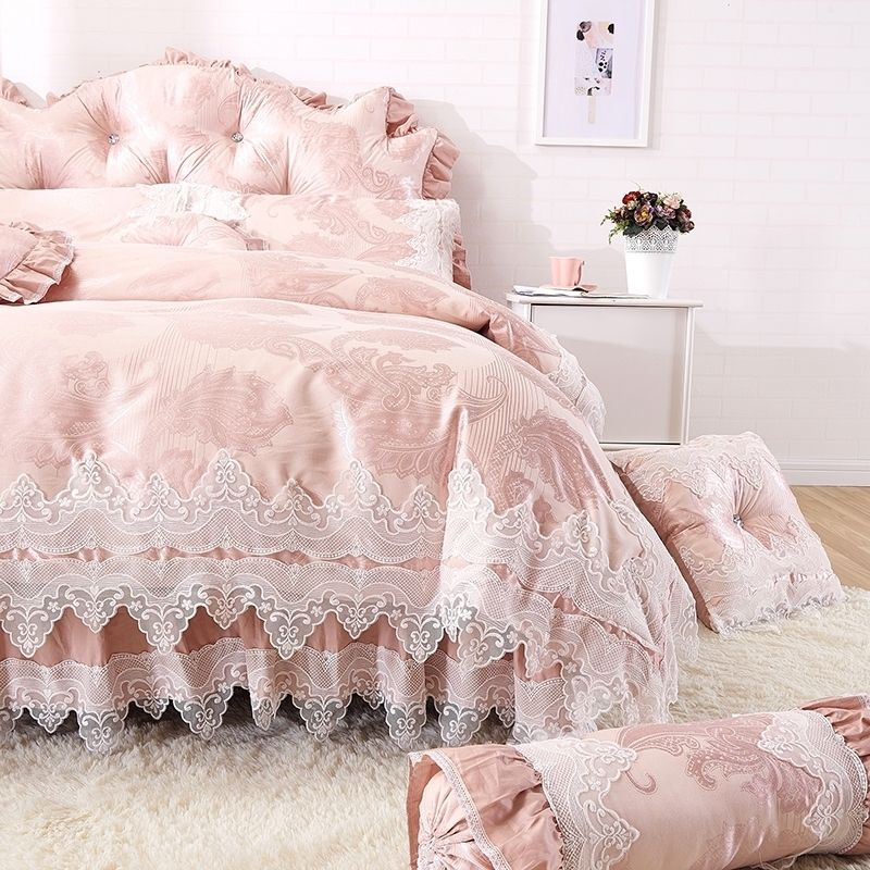 Elegant Girls Pale Pink Vintage Lace Design Gathered Ruffled Cute Style Luxury Cotton Full Queen Size Bedding S Luxury Bedding Bedding Sets Queen Size Bedding