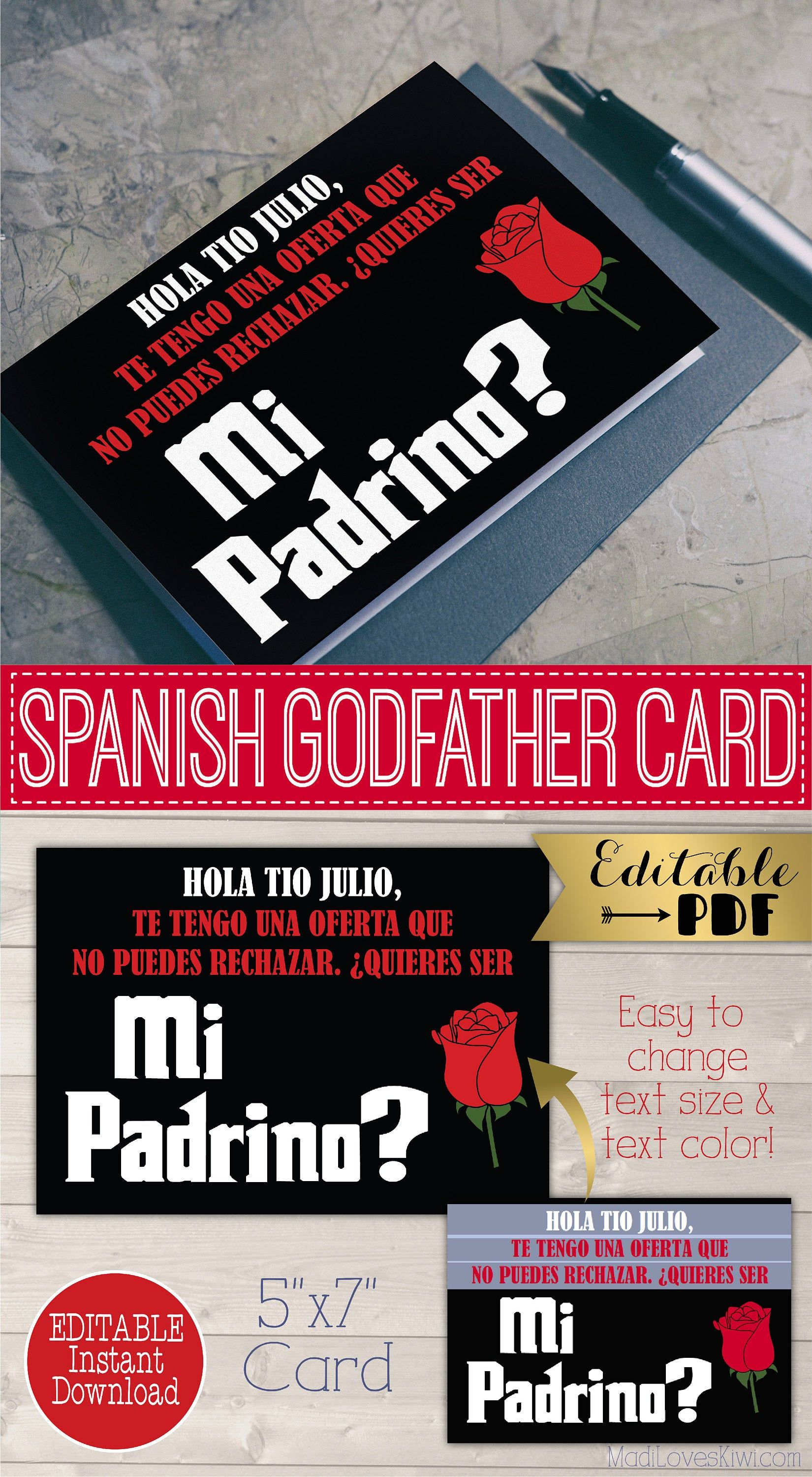 Spanish Godfather Card Quieres Ser Mi Padrino Tarjeta Ask Etsy In 2020 The Godfather Godfather Gifts Digital Gifts