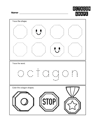 Octagon 2 D Shape Worksheet Trace And Color In 2020 Shapes Preschool Shapes Worksheets Shapes Activities