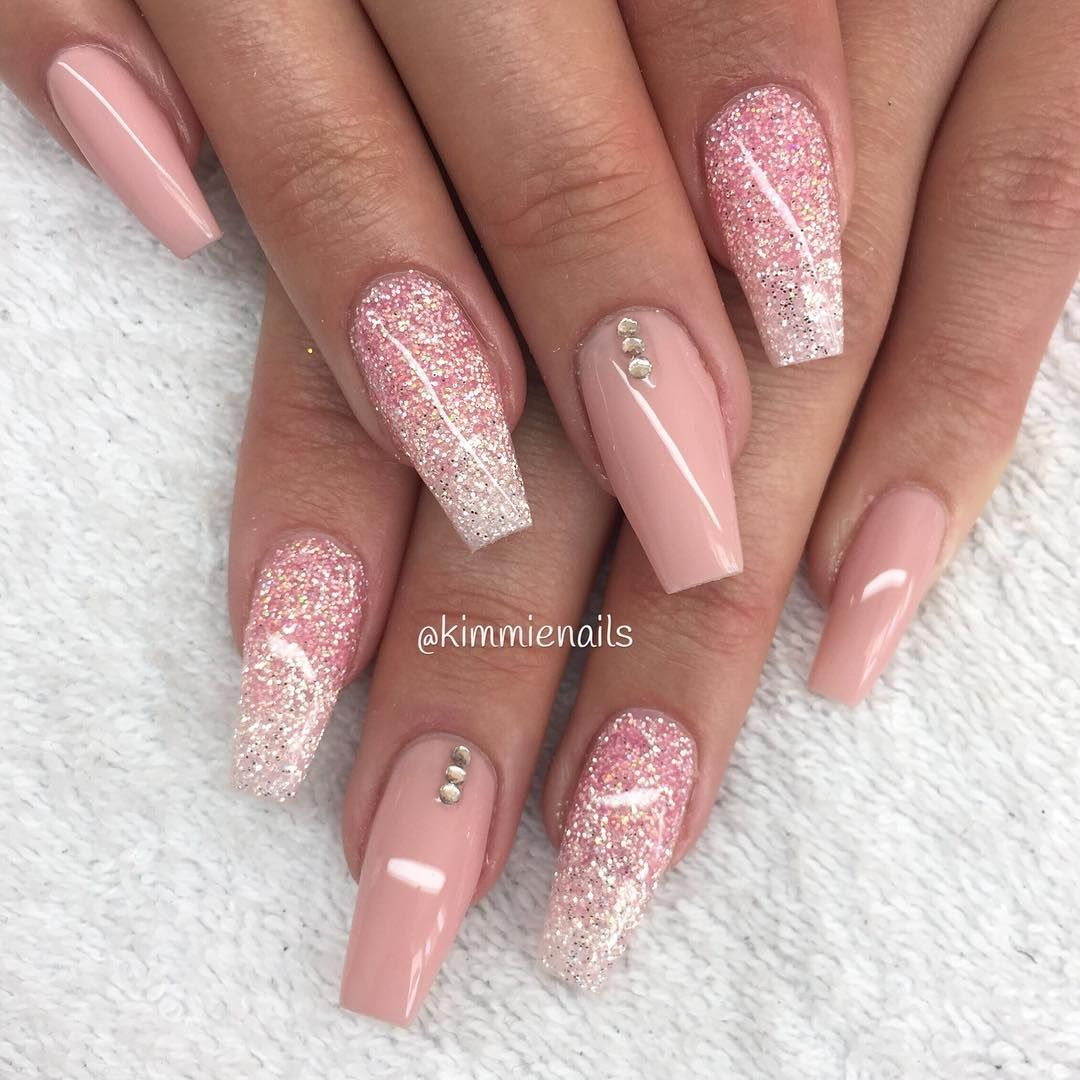 Nude pink, glitterfade with pink & diamond and some stones #naglar ...