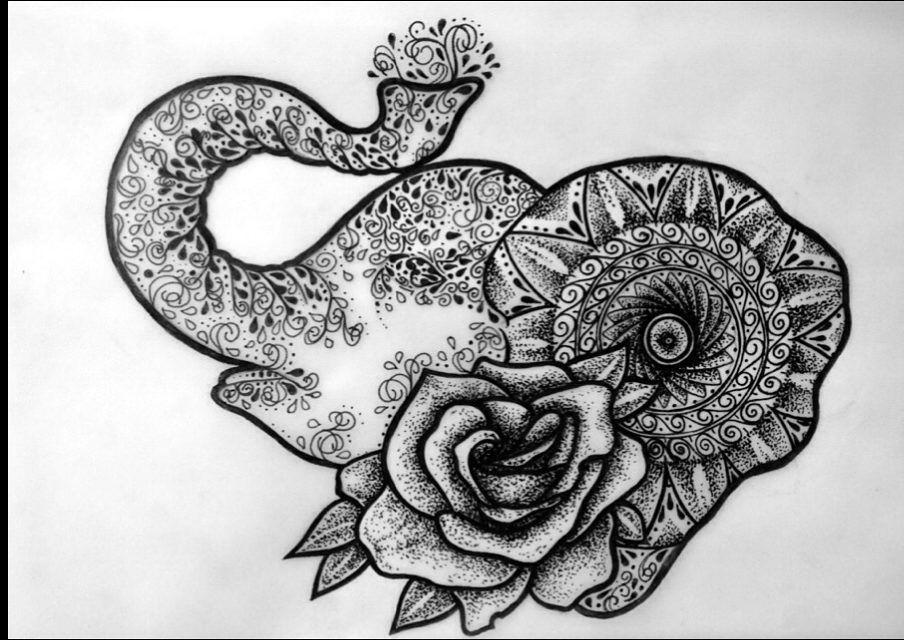 swanky symbolism elephant mandala and rose tattoo design art tattoo pinterest rose. Black Bedroom Furniture Sets. Home Design Ideas