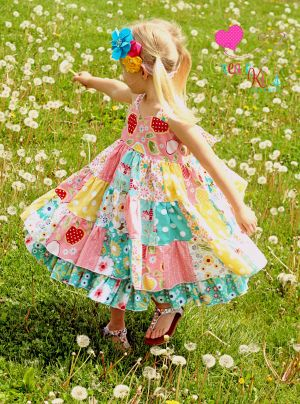 $10 pattern : This beautifully designed patchwork dress is sure to be your new favorite pattern. Two full layers make this dress extra twirly, in which your daughter will love twirling around like a princess. Your friends, family and customers will go crazy for this dress! Use multiple fabrics from the same line for a nice and easy design or mix up your scraps for a funky look. The sky is the limit, now let's see what YOU can do!