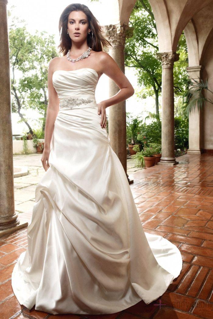 Aline Beading Sash Glamorous Chapel Train Wedding Dress
