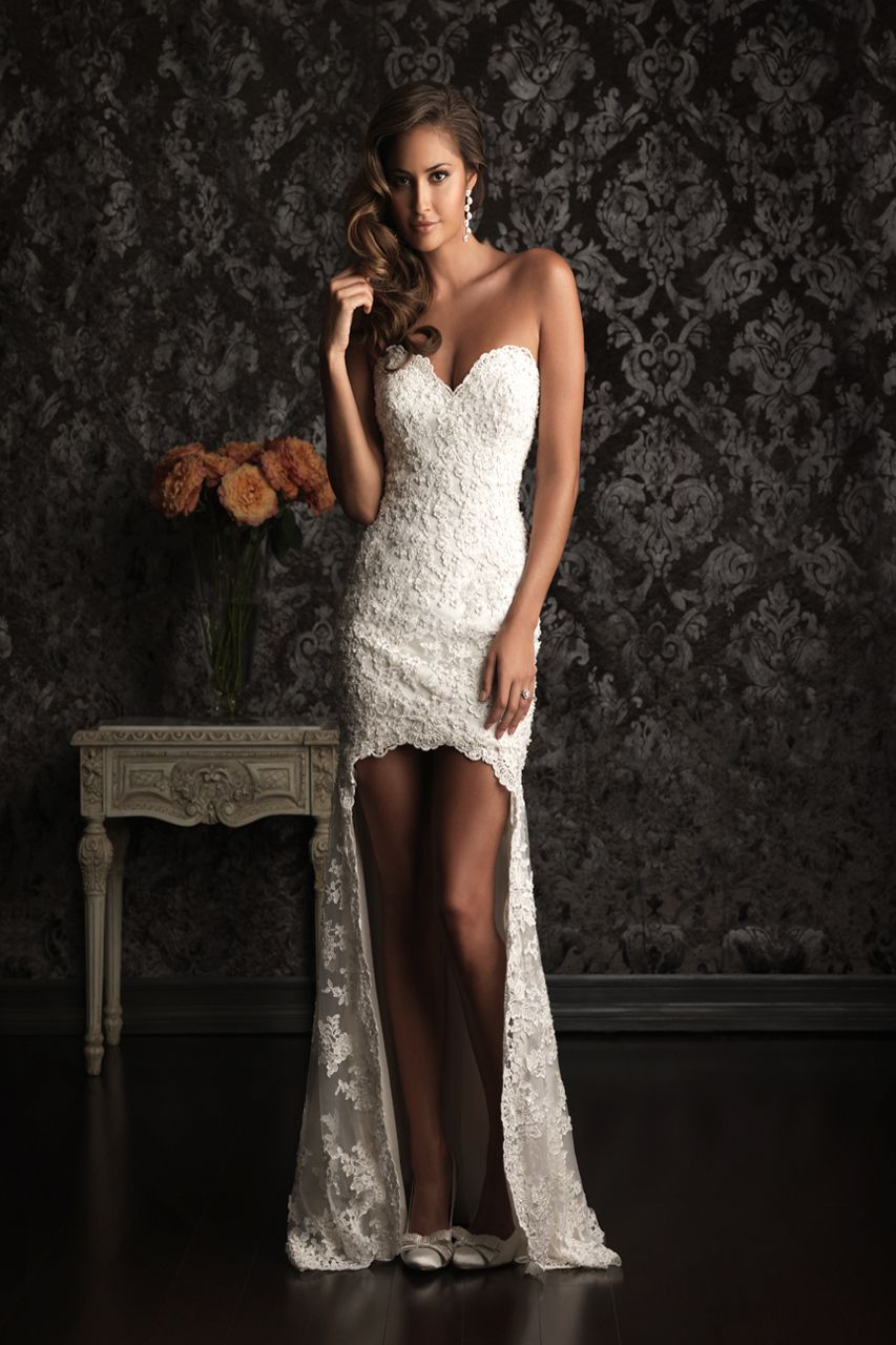 Spaghetti strap sweetheart neck open back short front long back lace