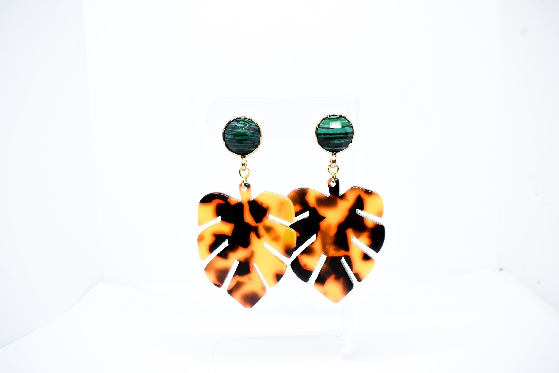 02dbecce60c13 Tortoise Shell Earrings, Monstera Leaf Tortoise Shell Earrings ...