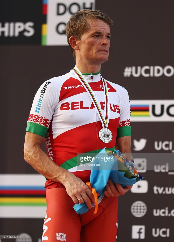Silver medalist Vasil Kiryienka of Belarus stands on the podium during the medal ceremony for the Men's Elite Individual Time Trial on Day Four of the UCI Road World Championships at Lusail Sports Complex on October 12, 2016 in Doha, Qatar.