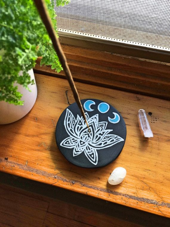 Handmade Painted Clay Incense Burner Lotus Moon Phase