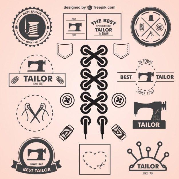 Vintage tailor symbols set Free Vector