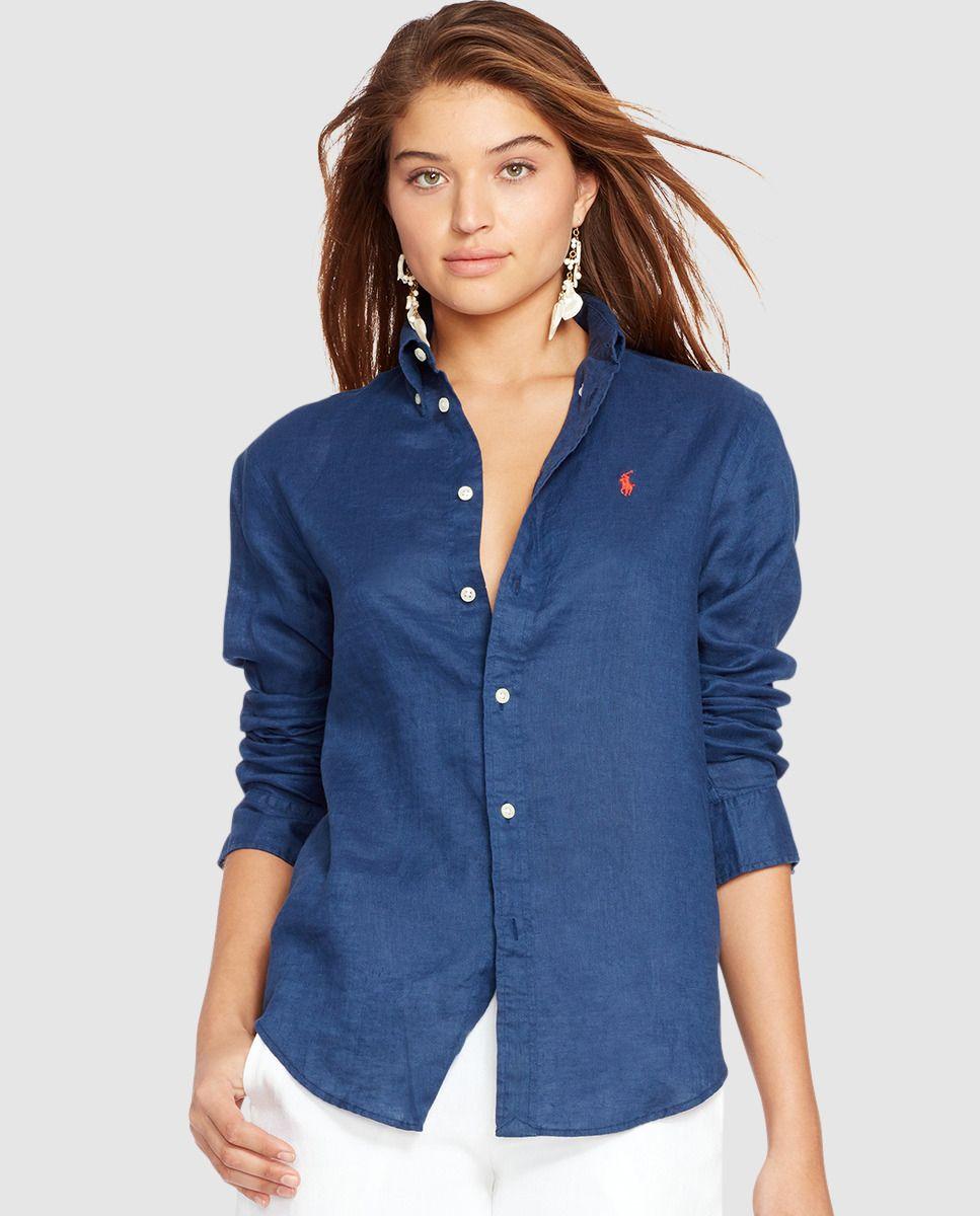 eb85ed05fc288 Camisa de lino de mujer Polo Ralph Lauren en azul marino