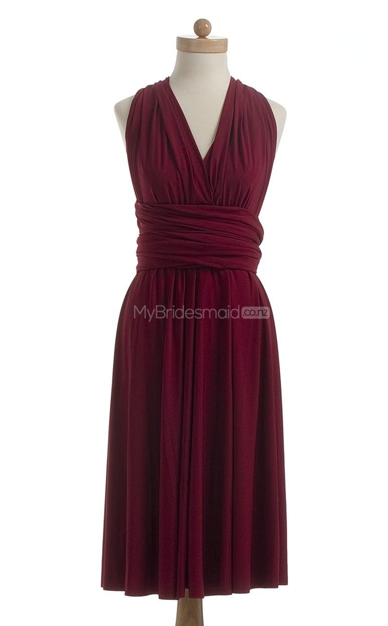 Beautiful Burgundy Short Bridesmaid Dress Dresses