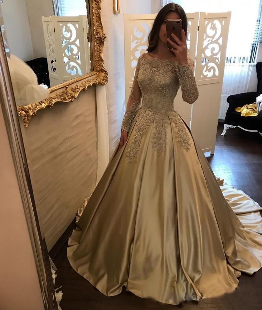 Off shoulder long sleeve gold beaded a line sparkly evening prom