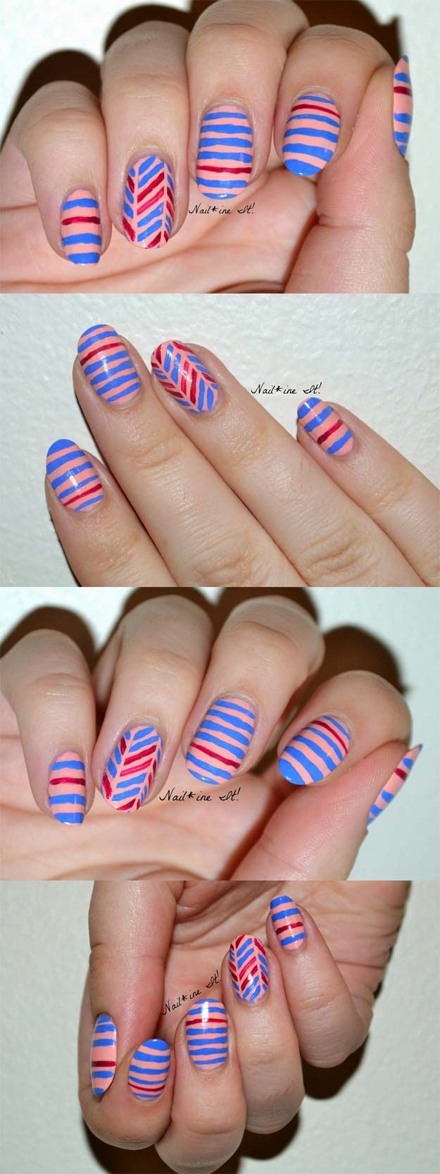 36 Striped Nail Art Ideas Nail Art Stripes Nail Tape And Scotch Tape