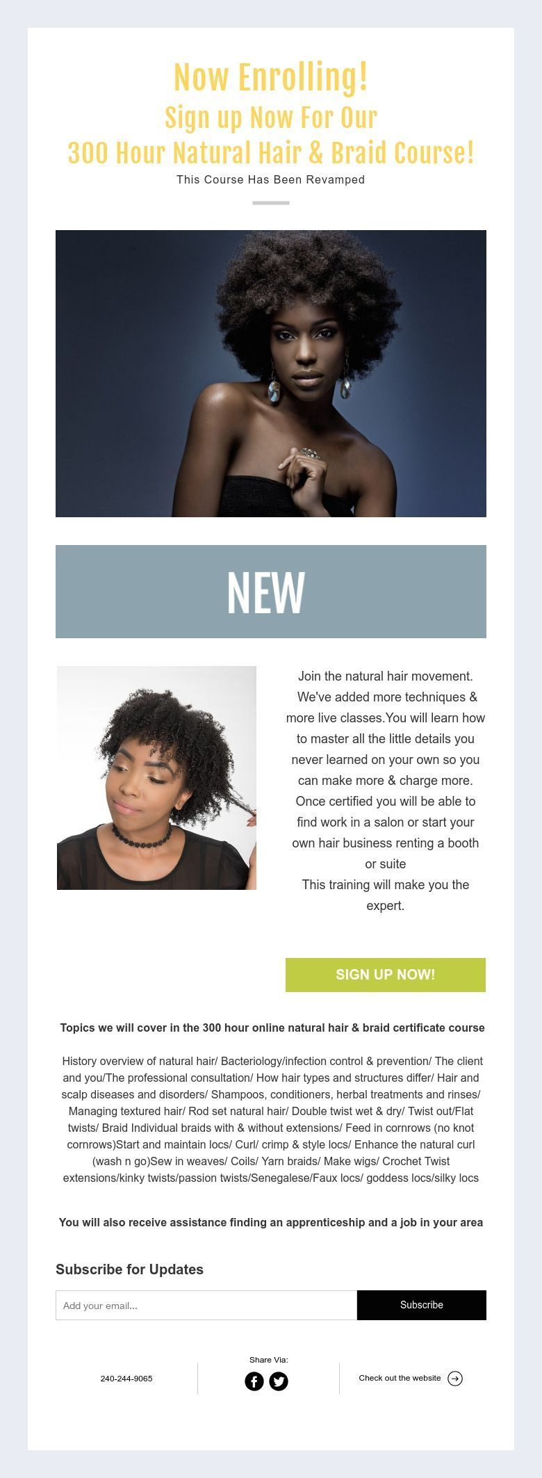 Now Enrolling Sign Up Now For Our 300 Hour Natural Hair Braid Course This Course Has Been Rev Natural Hair Styles Natural Hair Braids Braided Hairstyles