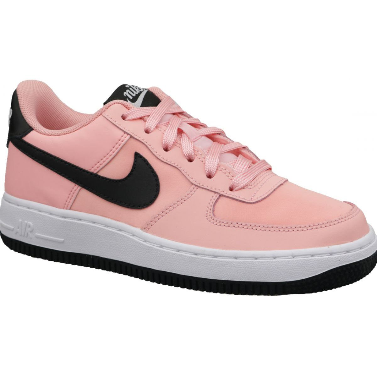 Details about Young Girls Nike Air Force 1 VDAY GS Trainers Shoes Pink Black BQ6980 600
