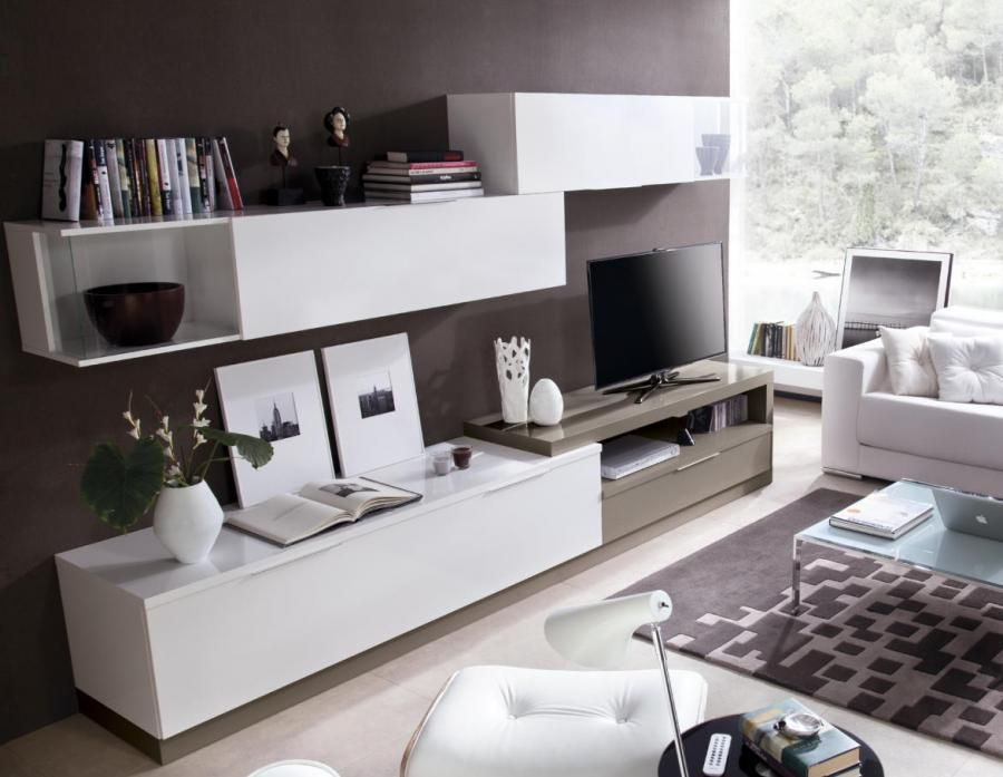 Modern Wall Storage System In Various Finishes With TV Unit And 3 Cabinets    Contemporary Wall