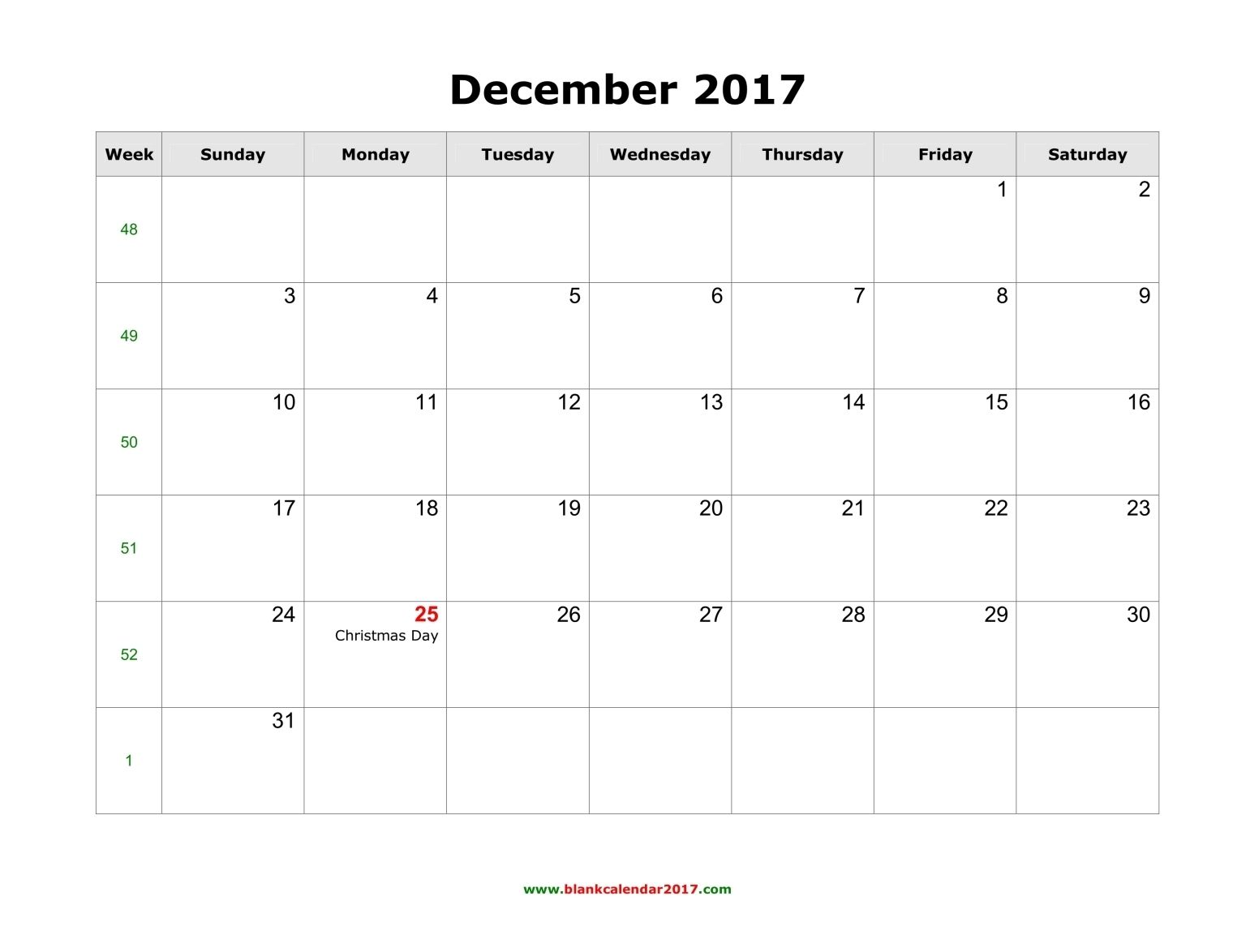 Free Printable December 2017 Calendar For Kids