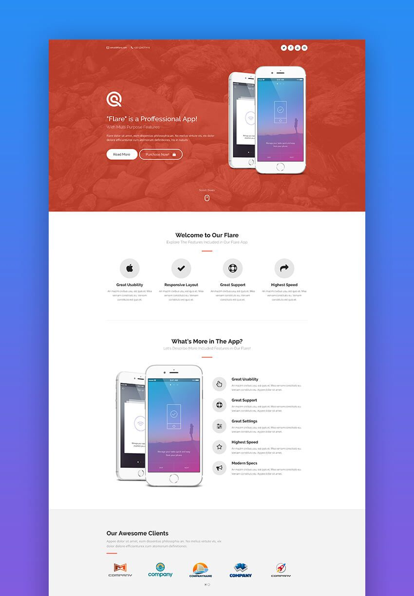 Pin On Frag Mobile app landing page template