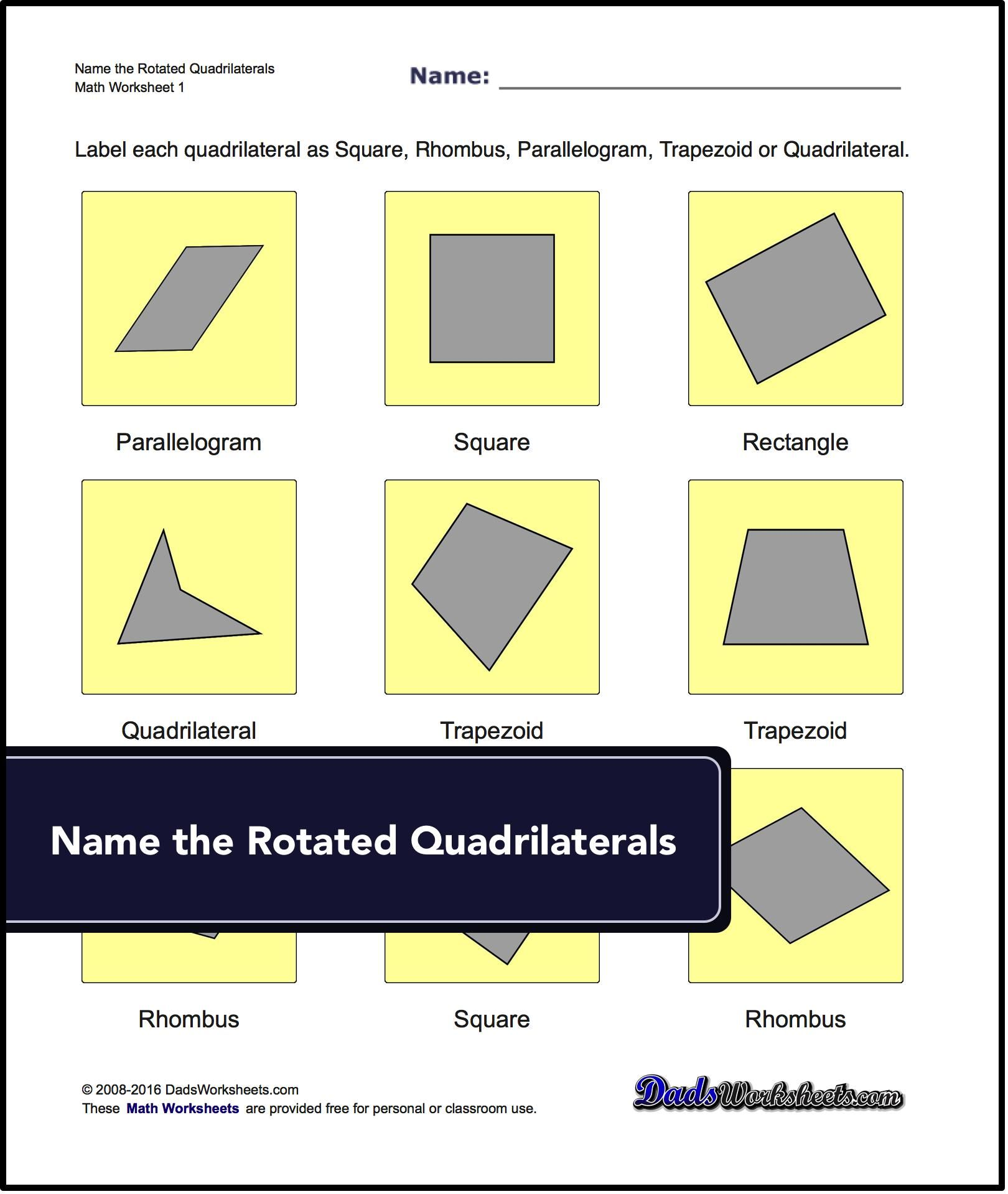 Our Geometry Worksheets Require Students To Identify And Name Basic Quadrilaterals Triangles